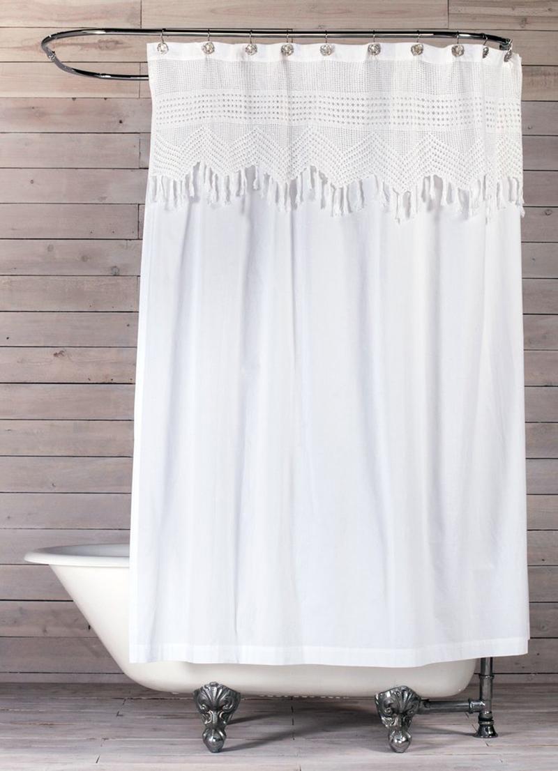 Rideau de douche au crochet vintage
