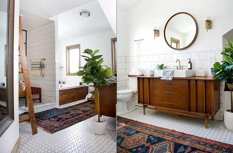 Salle de bains vintage moderne révèlent