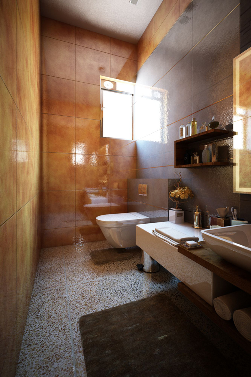 Salle de bain avec nouvelle lumière