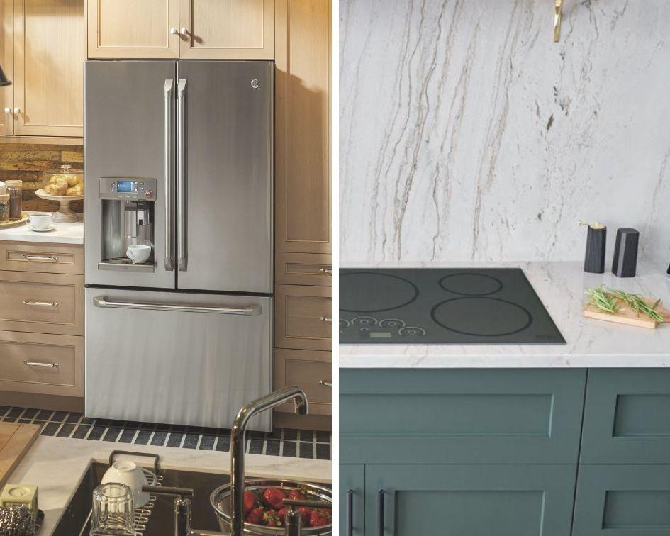 Réfrigérateur à porte française GE CAFE avec cafetière Keurig K-Cup Single / Table de cuisson GE CAFE à technologie de guidage gastronomique