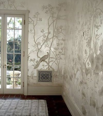 Décoration Murale Design  : Chinoiserie mural on silver metallic