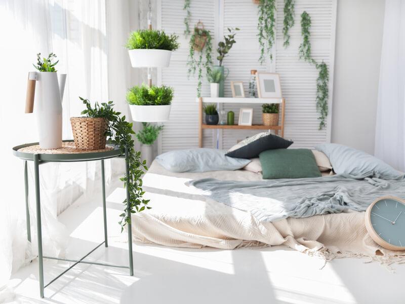 Boho chambre avec des plantes