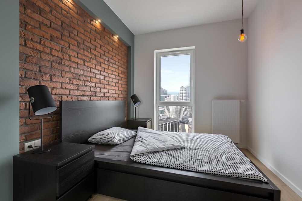 Espace chambre à coucher en brique rustique