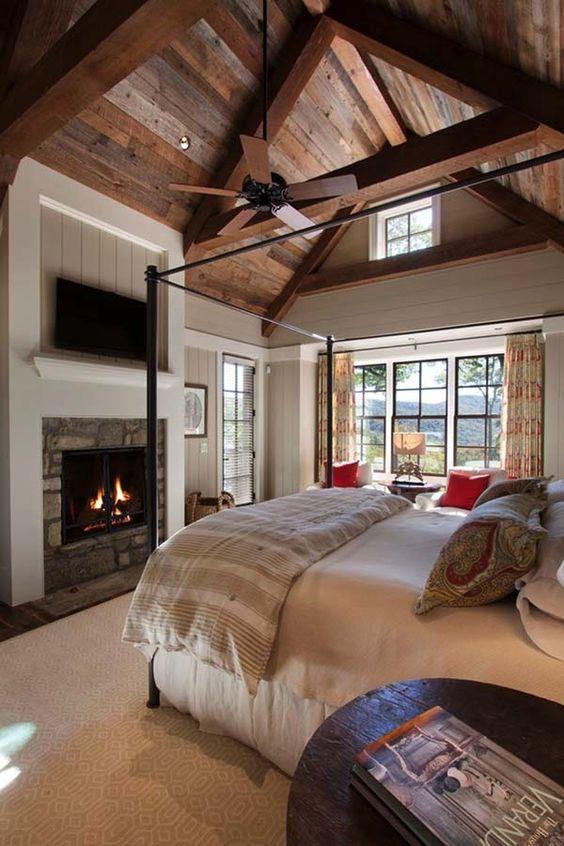 Chambres rustiques avec cheminée
