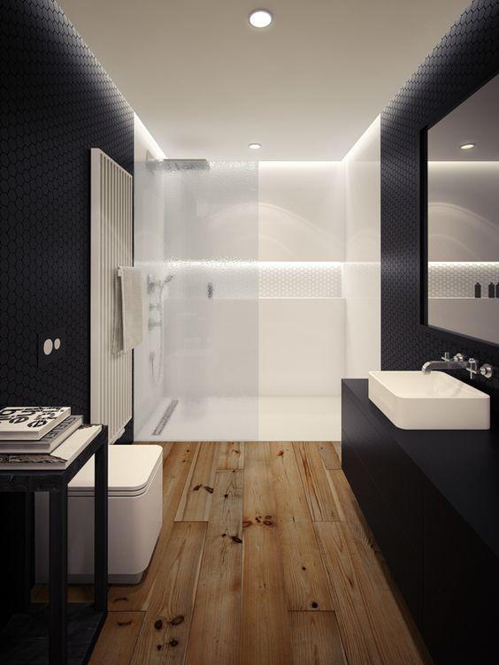 Salles de bain dans un style moderne noir et blanc