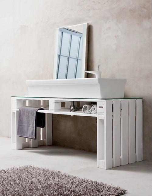 Meubles de salle de bain fabriqués avec des palettes