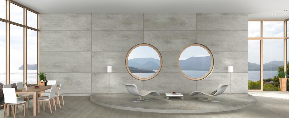 Point focal des fenêtres à hublots.