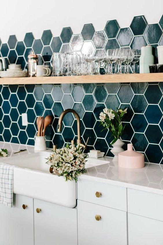 Carreaux hexagonaux pour la cuisine