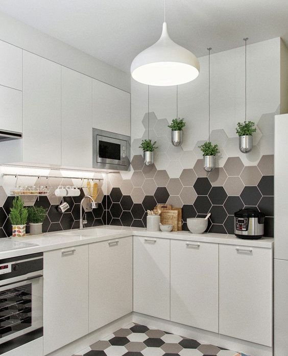 Carreaux de cuisine hexagonaux