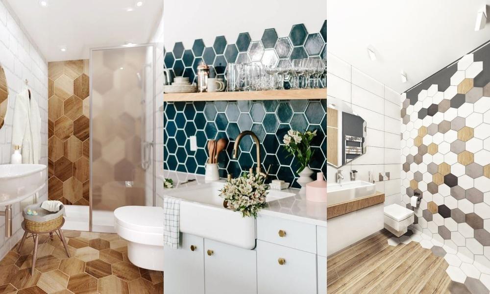 Carreaux hexagonaux dans les cuisines et salles de bain