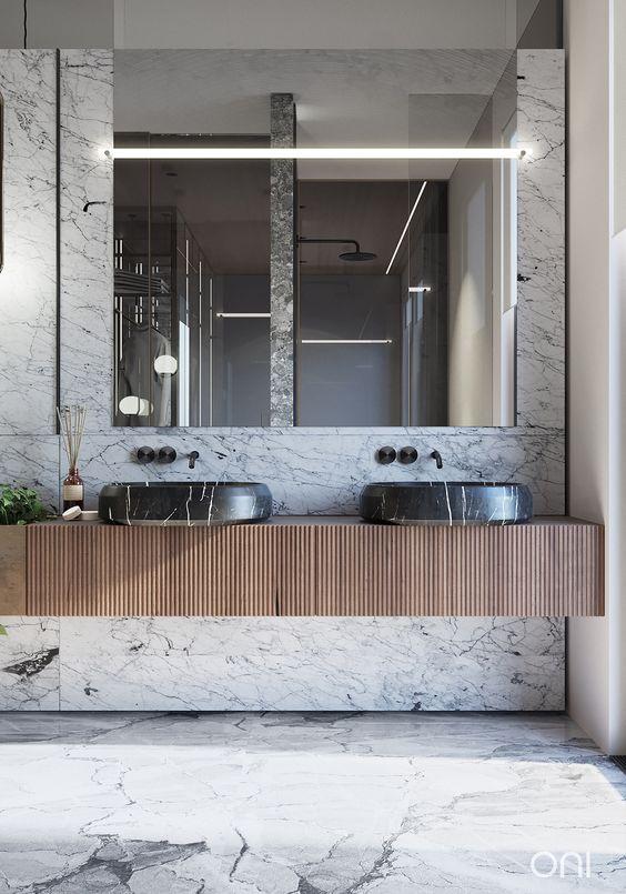 Tendances salle de bain 2020 pierres naturelles