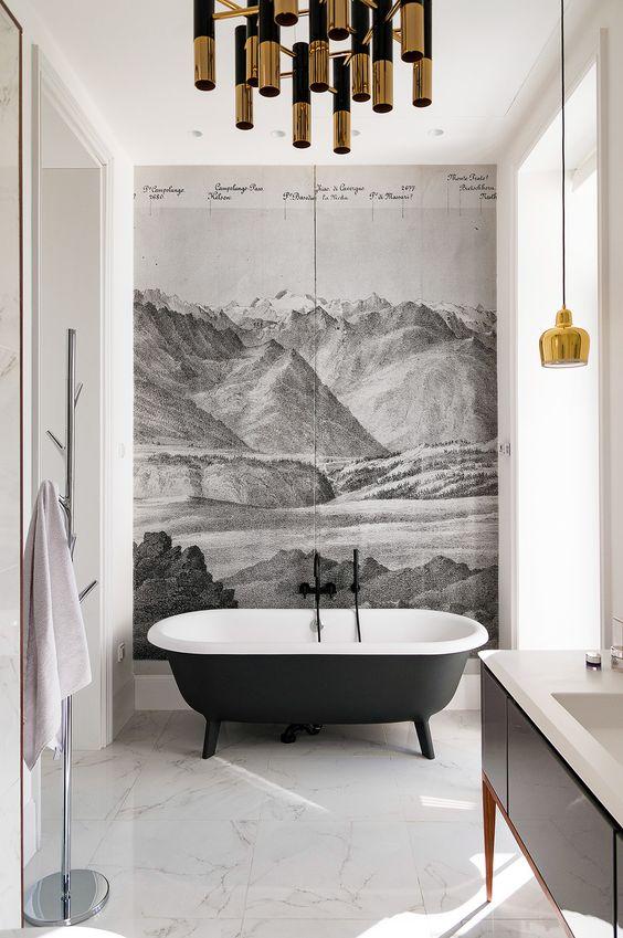 Salles de bain en noir et blanc