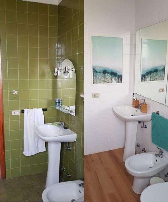 Salles de bain avec carreaux peints