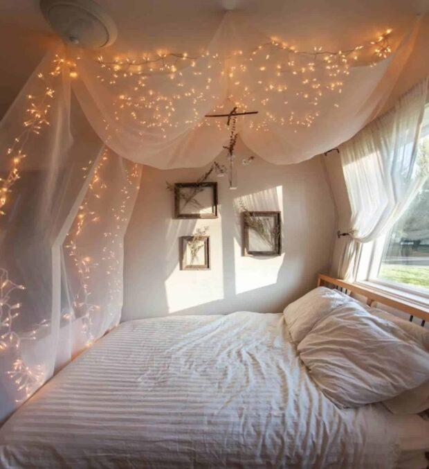 13 façons de bricoler pour décorer votre chambre avec des guirlandes