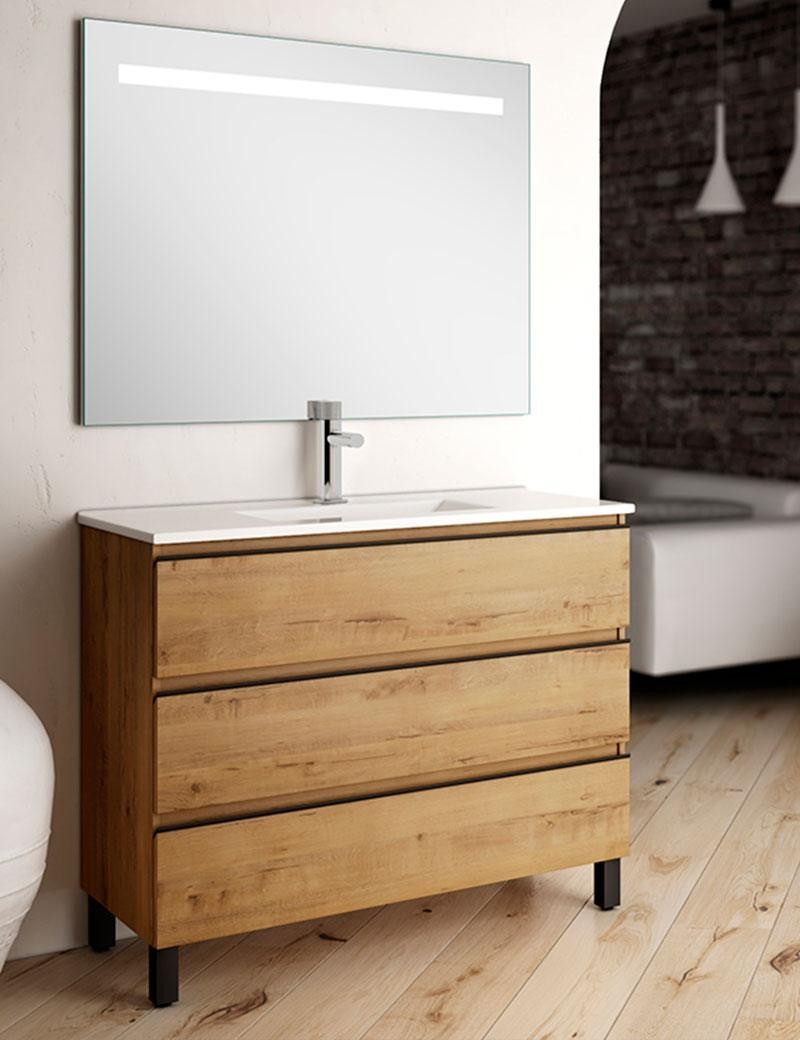 Meuble de salle de bain en parquet