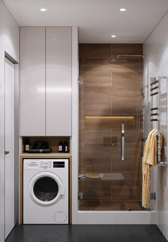 Masquer la salle de bain du lave-linge