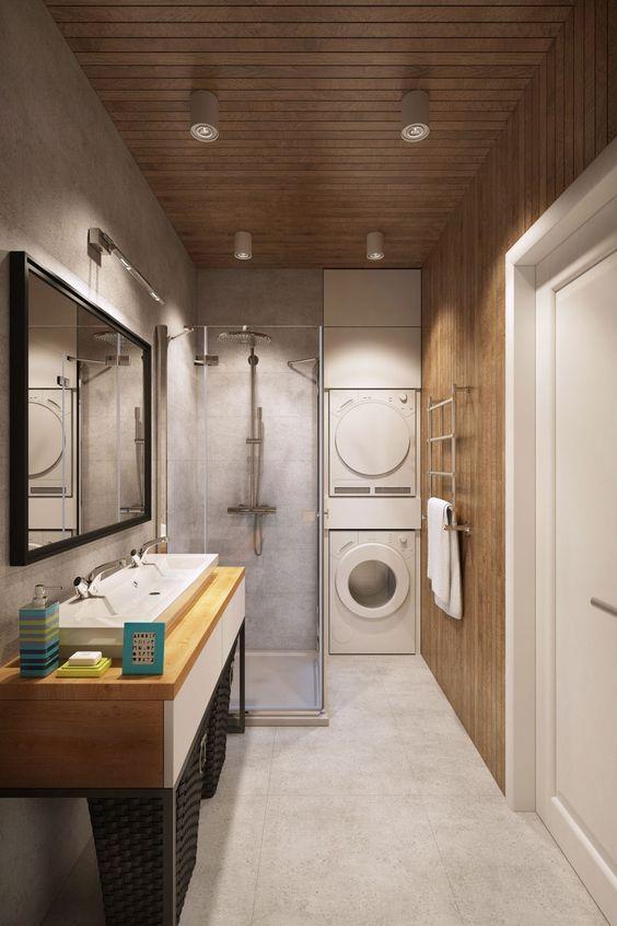 Salles de bain avec laveuse et sécheuse
