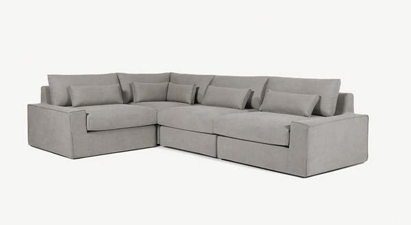 Canapé d'angle 4 places en tissu gris