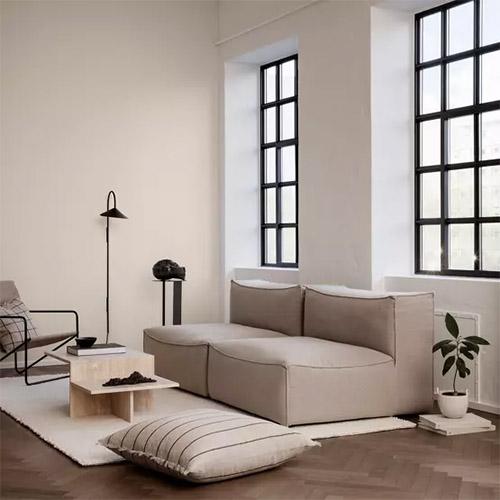 canapé modulable en tissu beige design moderne