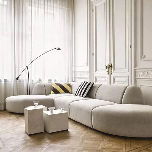 Canapé modulable 4 places en tissu gris