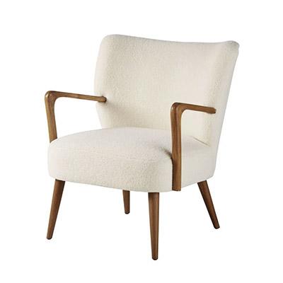 fauteuil avec pieds en bois recouvert de tissu blanc