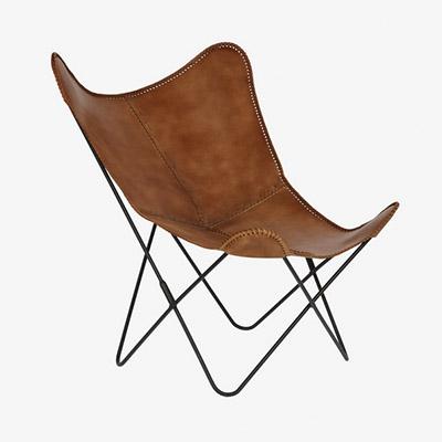 chaise papillon en cuir cuir