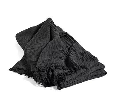 couvre-lit en coton froissé noir
