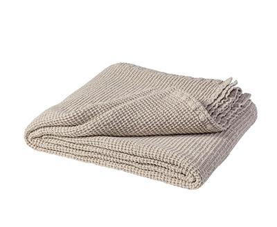 couvre-lit bouti beige en coton et lin
