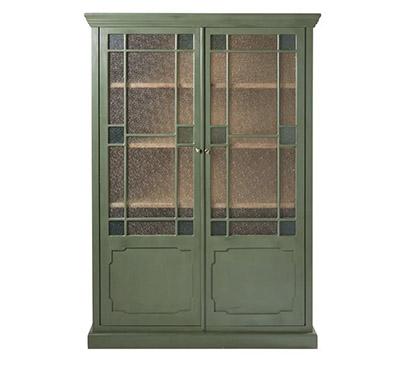 vitrine verte avec portes en verre