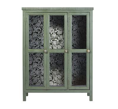 vitrine en bois vert et portes en verre