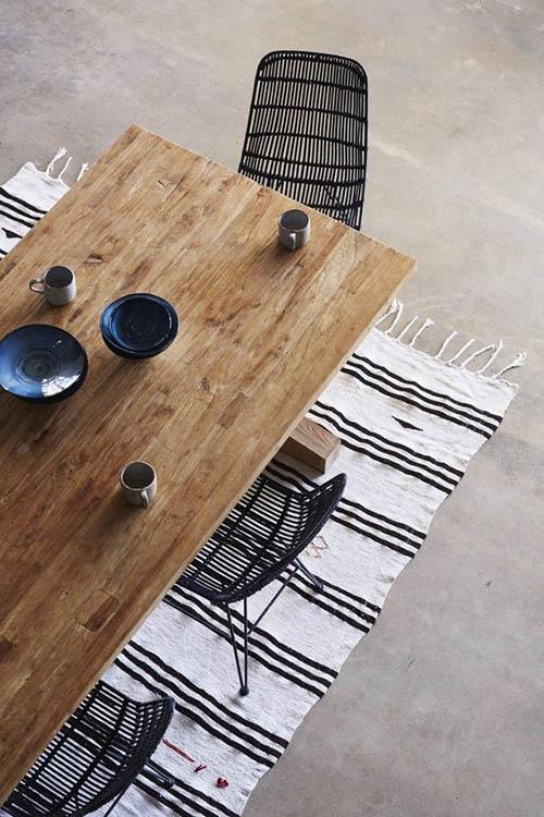 la décoration des salles à manger avec des meubles en osier