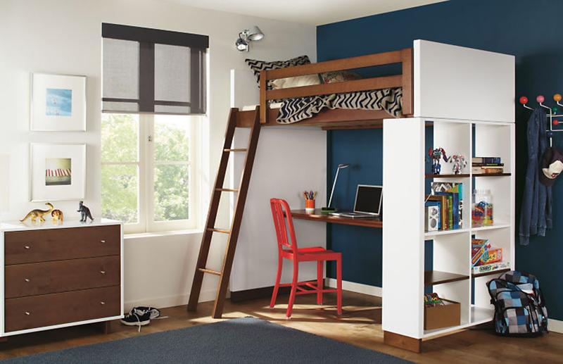 Lits mezzanine Moda avec options de bureau et de bibliothèque