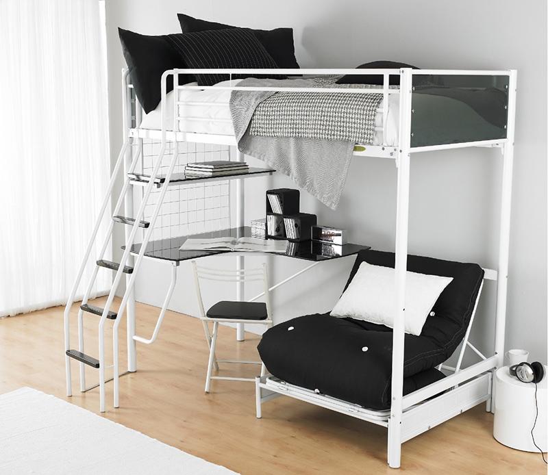 Lit superposé, futon blanc et lits mezzanine pour enfants