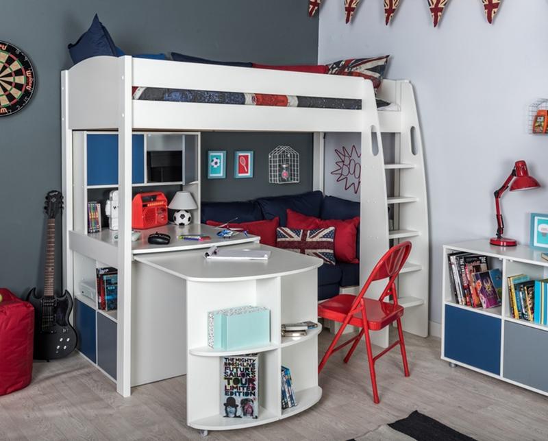 Highsleeper avec canapé-lit, table fixe, bureau escamotable