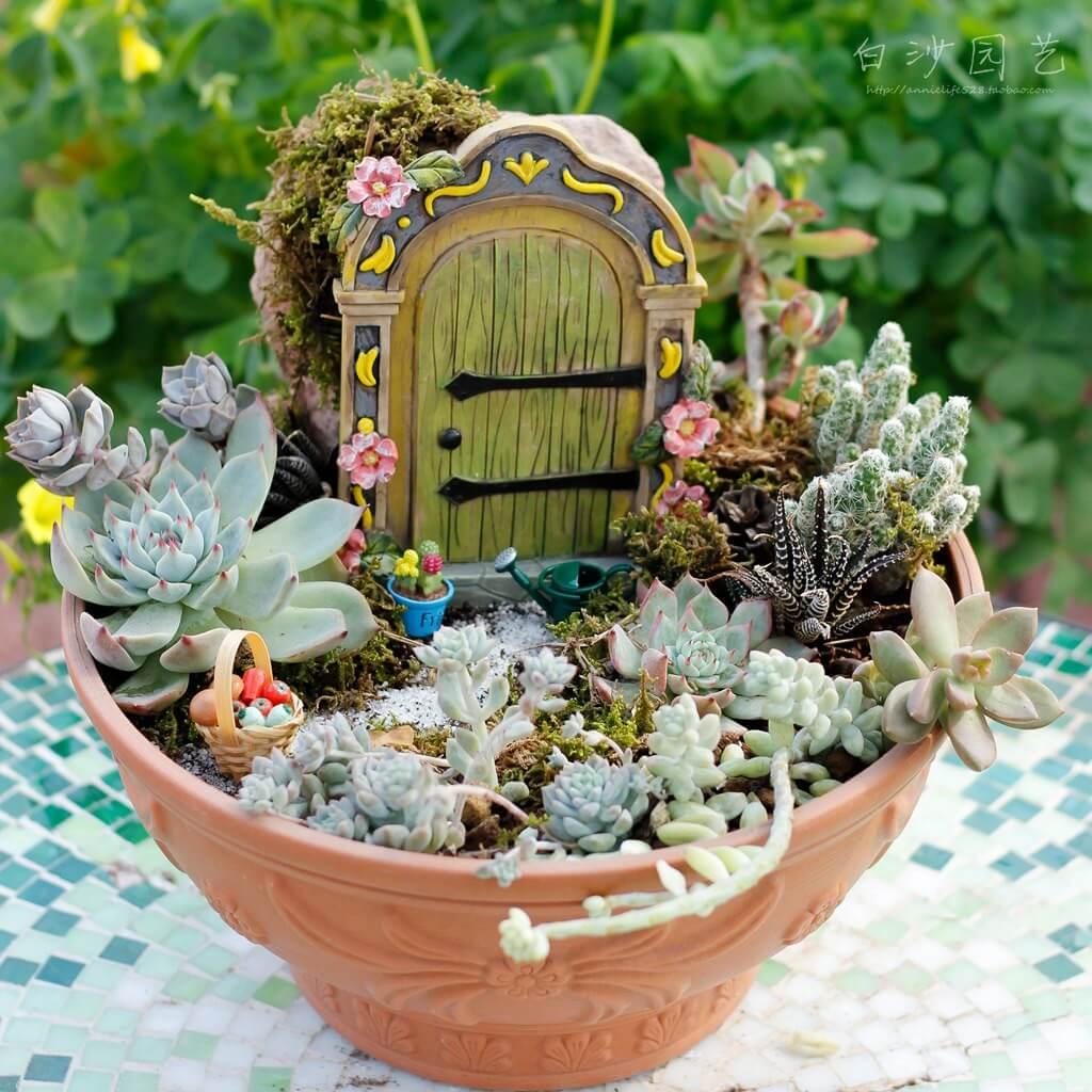Jardin de fées succulentes porte secrète