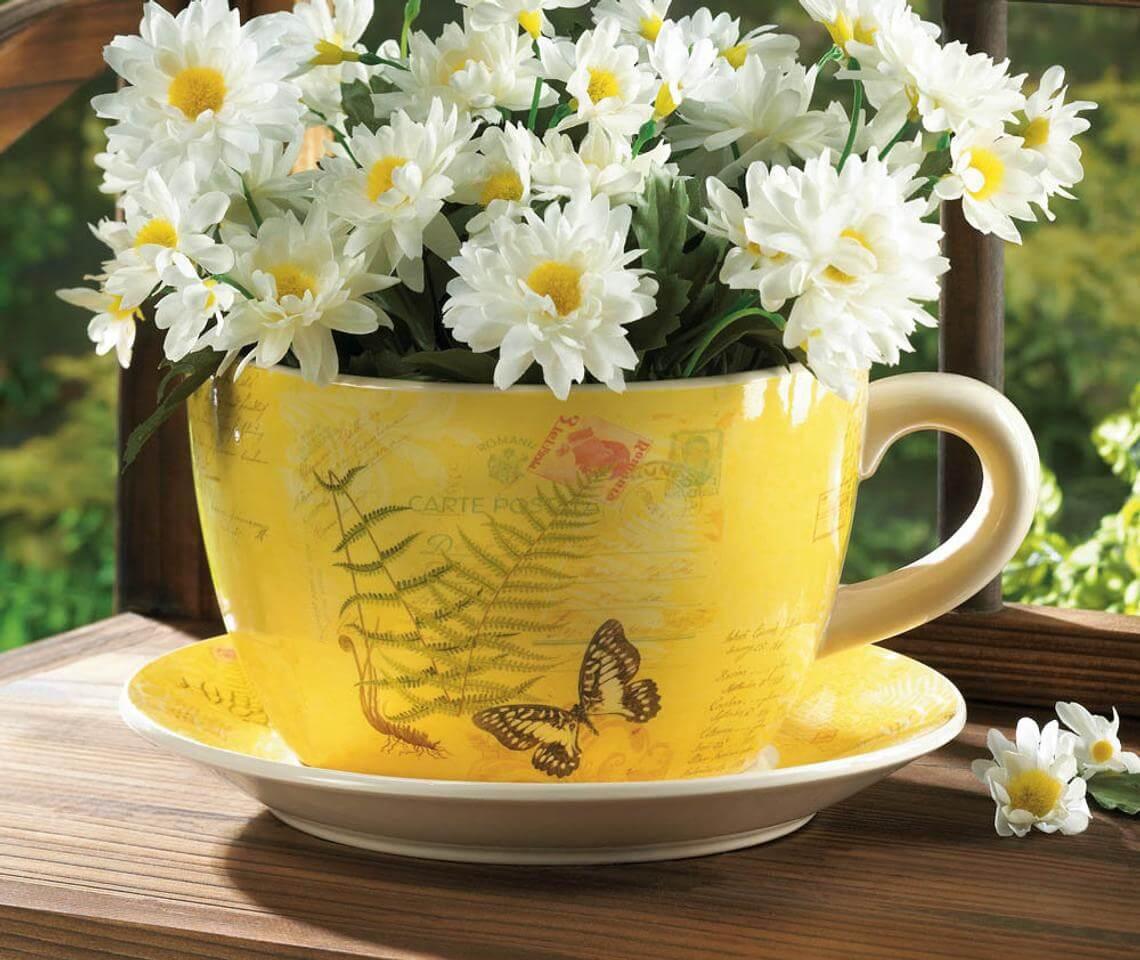 Décoration de jardin de tasse de thé botanique de voyageur vintage