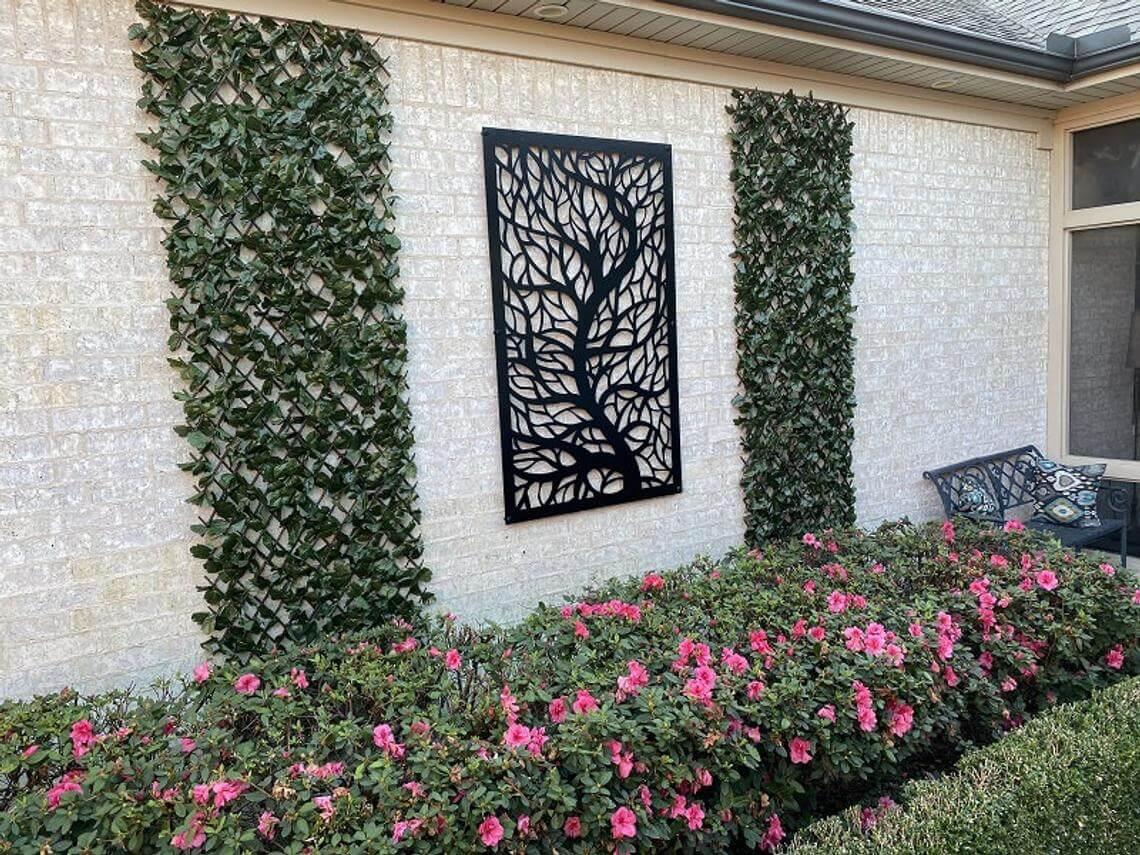 Écran de confidentialité extérieur décoratif en métal