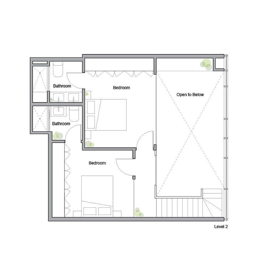 Plan d'étage supérieur du King West Loft par Studio of Contemporary Architecture