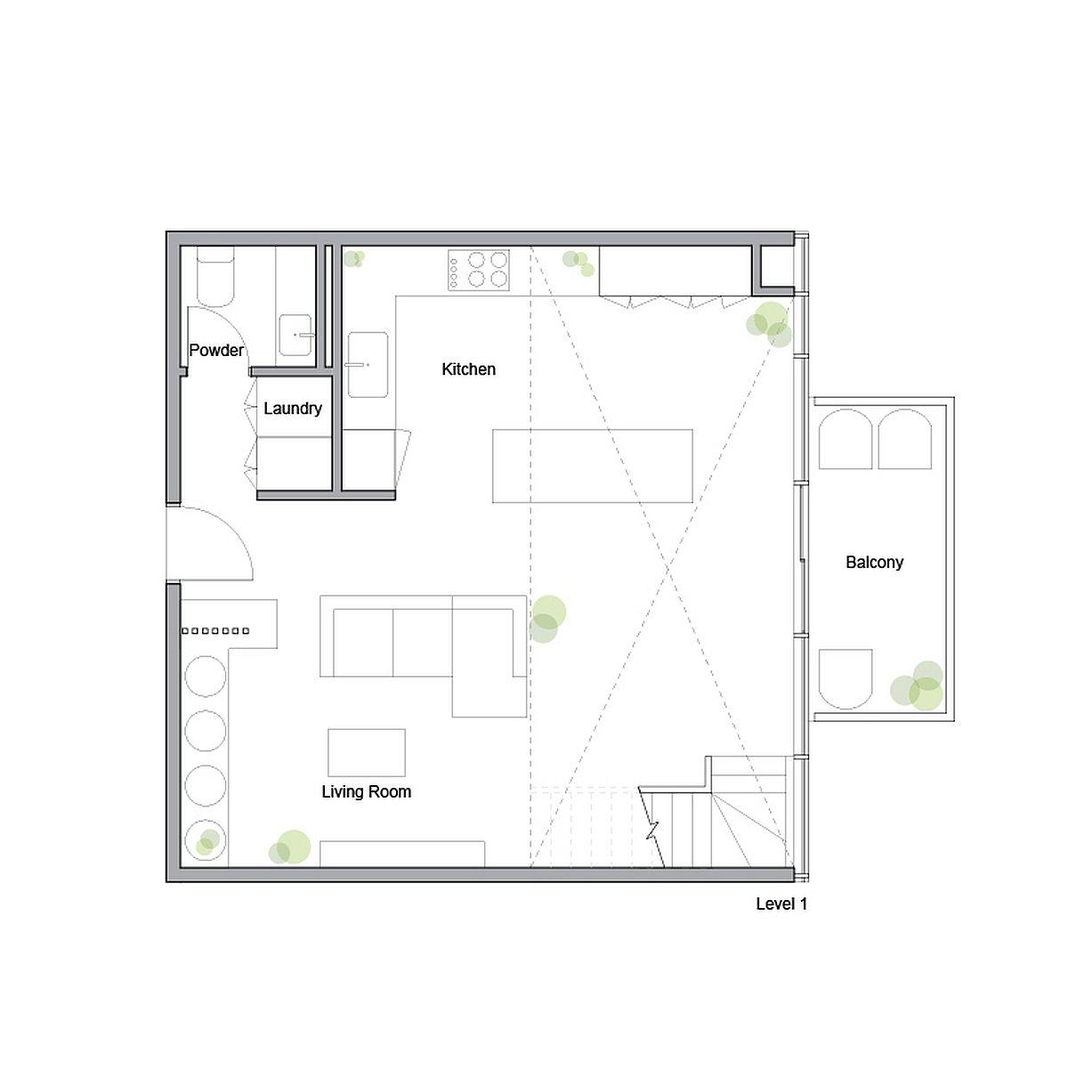 Plan d'étage inférieur du King West Loft conçu par Studio of Contemporary Architecture