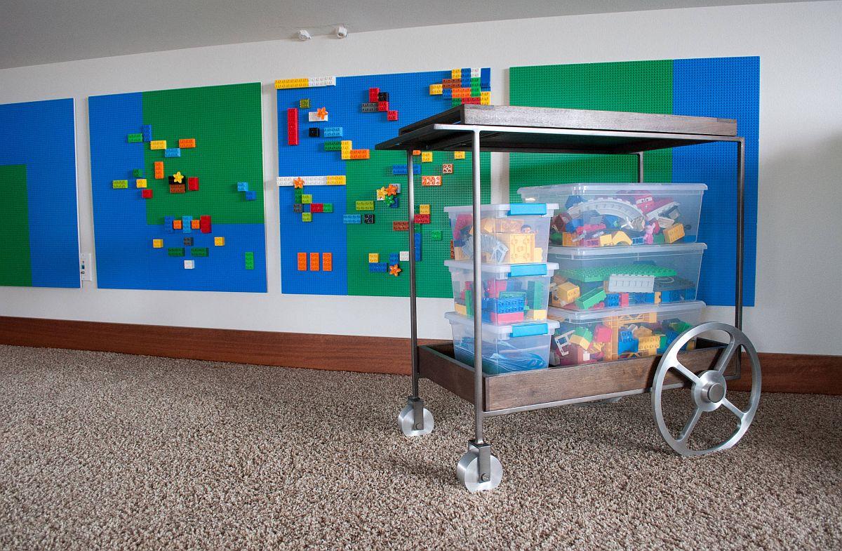 Le chariot Lego est un moyen amusant et facile de nettoyer tous ces blocs LEGO chez les enfants & # 039;  salle