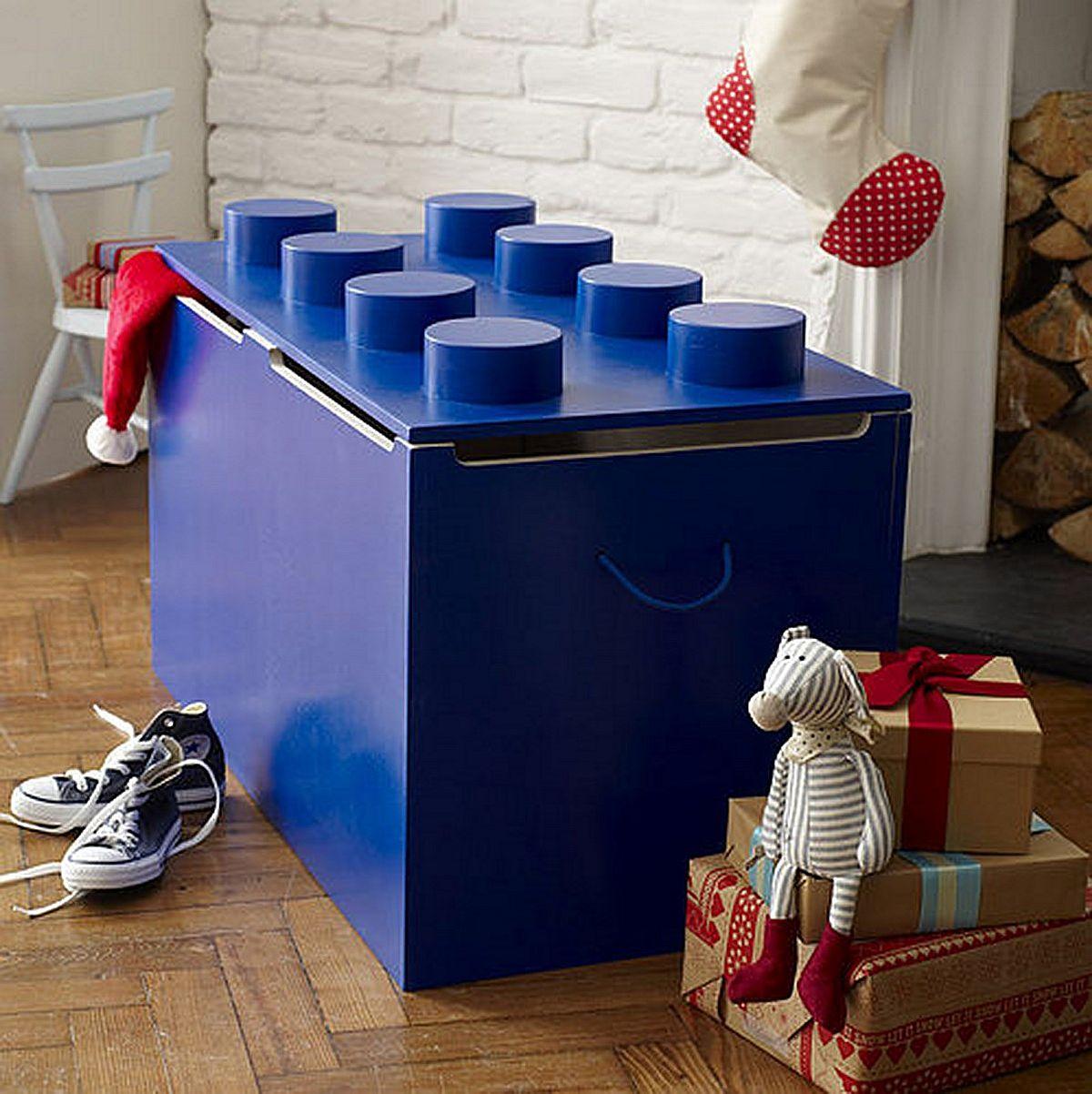 Coffre à jouets en forme de Lego pour les enfants modernes & # 039;  salle