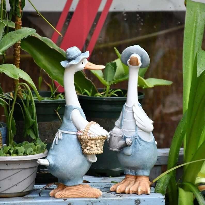 Statues de jardin Darling Denim Duck Duo