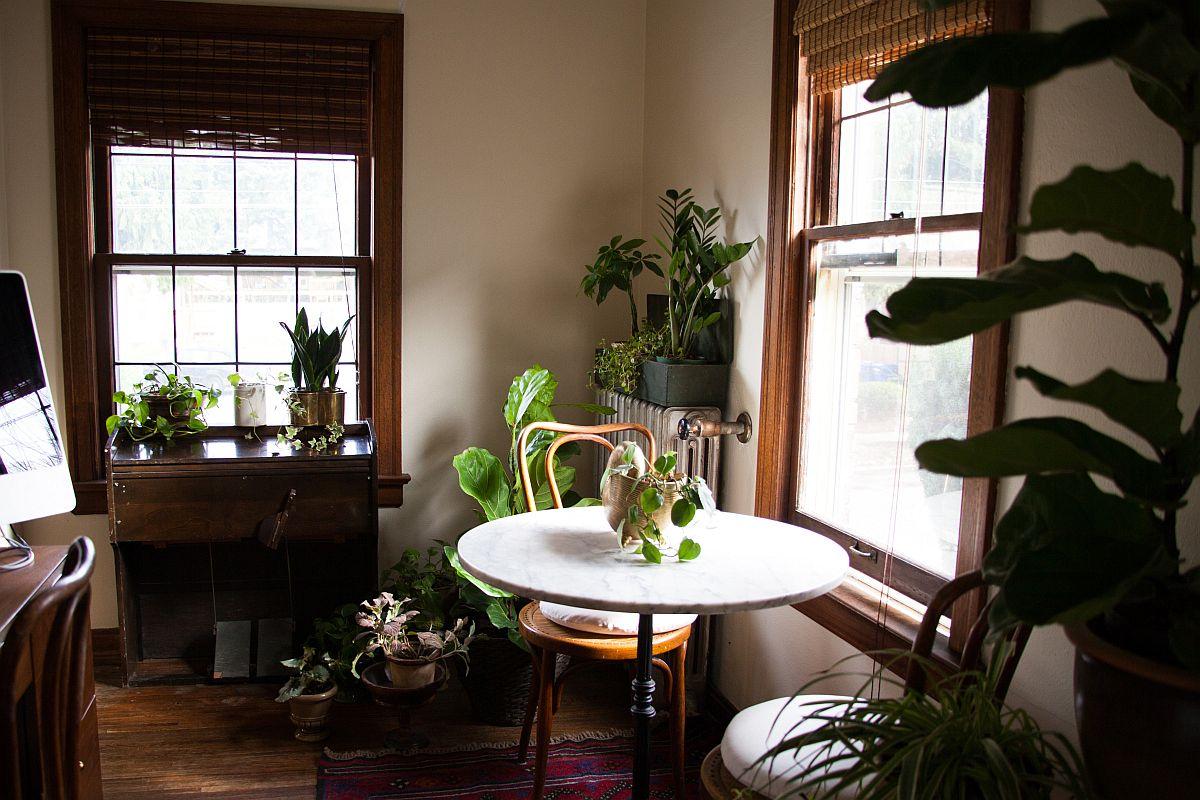 La salle à manger éclectique vintage est tout au sujet de la bonté verte