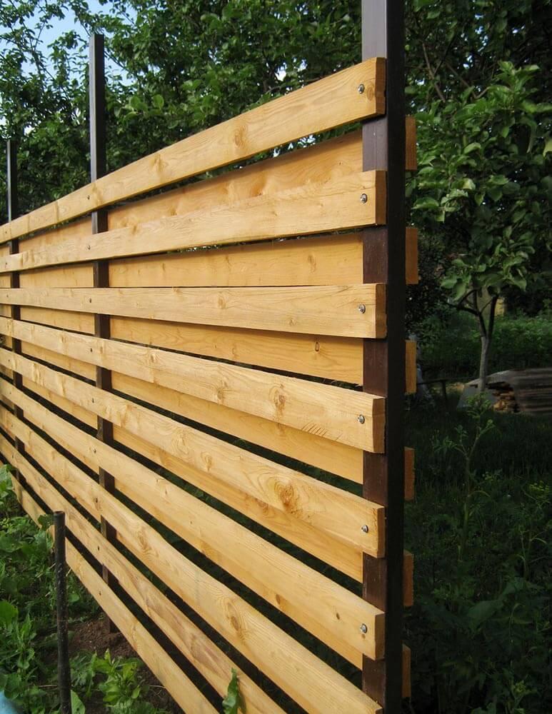 Clôture horizontale en planches avec poteaux métalliques