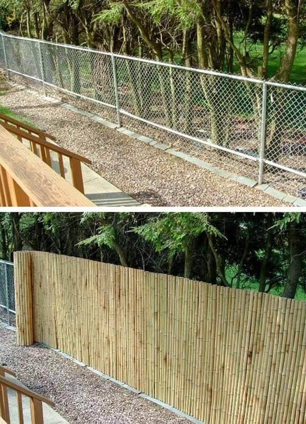 Couverture de camouflage en bambou pour clôture de maillon de chaîne