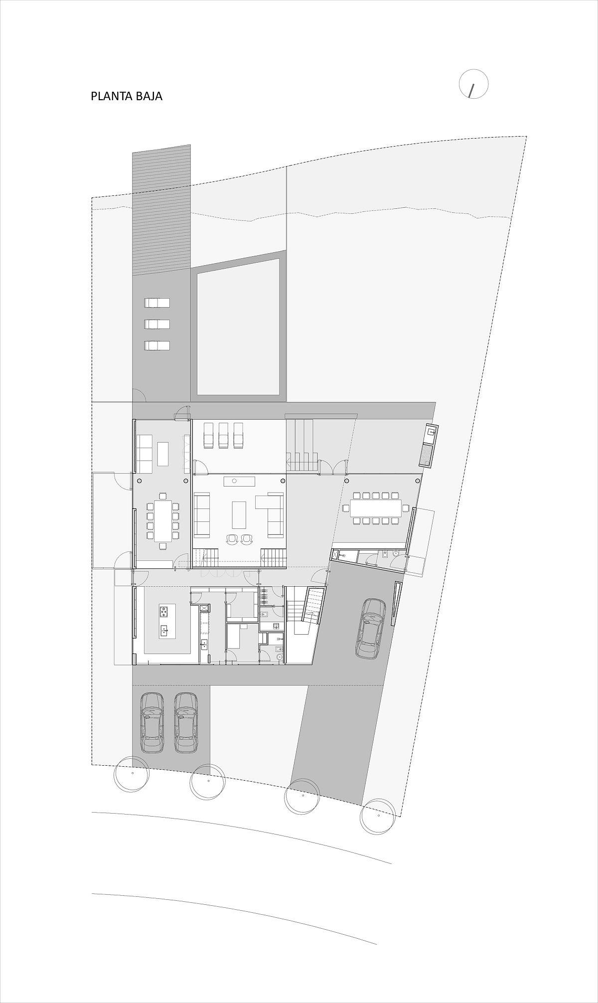 Plan de conception du rez-de-chaussée de la maison Castores par Dieguez Fridman