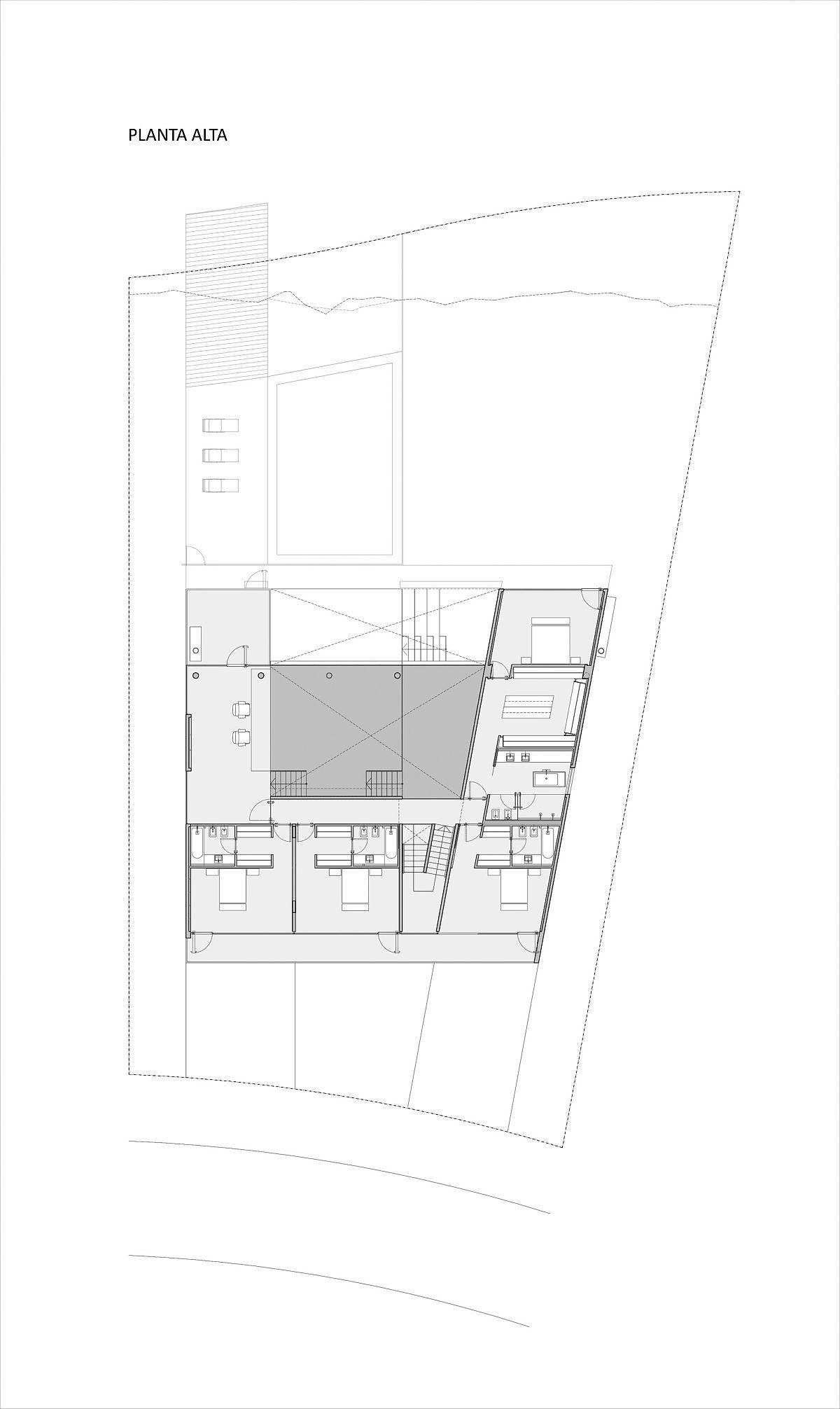 Plan d'étage de niveau supérieur de la maison Castores moderne à Buenos Aries