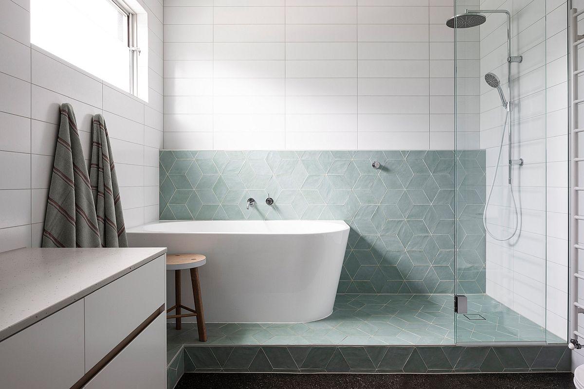 Utilisation exquise et innovante de la mode dans la salle de bain minimaliste moderne avec un look inspiré du spa