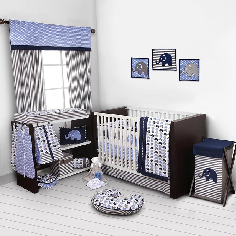 Ensemble de literie pour lit de bébé 10 pièces Elephants