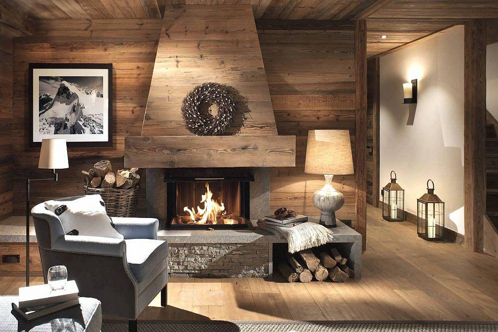 Salon cosy et confortable avec une magnifique cheminée en son cœur